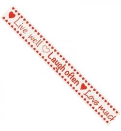 JU0877 Tekst lint, Live, laugh, love