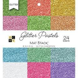 """211469 DCWV Cardstock Stack Glitter Pastels Solid 6""""X6"""" 24Pkg"""