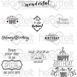 "554384 Heartfelt Creations Cling Rubber Stamp Set  Special Birthday Sentiments 5""X6.5"""