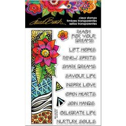 "375846 Stampendous Laurel Burch Clear Stamps Flora Wishes 7.25""x4.625"""