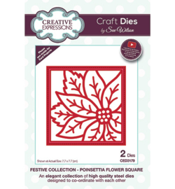 CED3179 Creative Expressions Poinsettia Flower Square