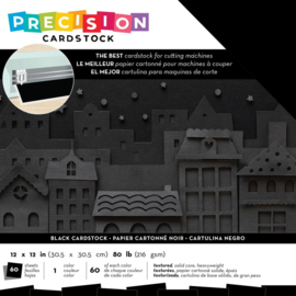 "AC354132 American Crafts Precision Cardstock Pack 80lb Black/Textured 12""X12"" 60/Pkg"