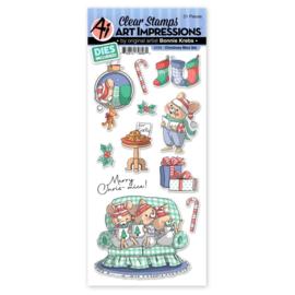 663848 Art Impressions Holiday Stamp & Die Set Christmas Mice