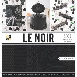 "209715 DCWV Cardstock Stack Le Noir W/UV Gloss 12""X12"" 20/Pkg"
