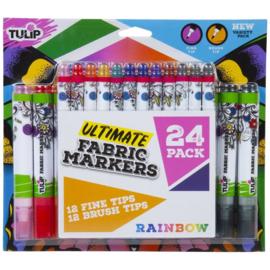 655323 Tulip Fabric Markers Brush & Fine Tip Rainbow 24/Pkg
