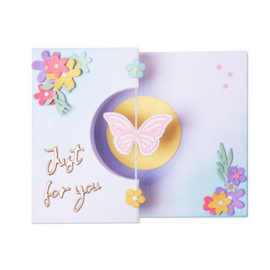 665074 Sizzix Thinlits Die Set - 14PK Butterfly Spinner Card Georgie Evans