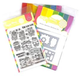 614440 Waffle Flower Stamp & Die Set Winter Hamster