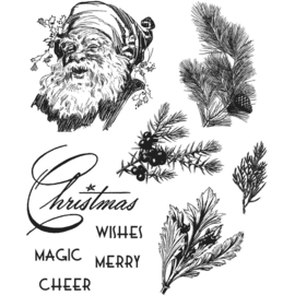 CMS 322 Tim Holtz Cling Stamps Christmas Classic