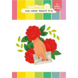 "647567 Waffle Flower Stencil Love Letter Trio 5.25""X6.5"""