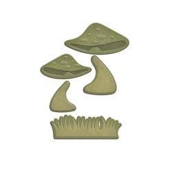 S2194 Spellbinders Shapeabilities Die D-Lites Mushrooms W/Grass