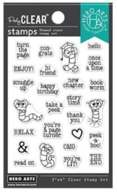 """652513 Hero Arts Clear Stamps Bookworm Messages 3""""X4"""""""