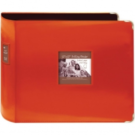 "063221 Sewn Leatherette 3-Ring Binder 12""X12"" Bright Orange"