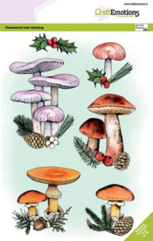 130501/3010 CraftEmotions clearstamps A5 - Paddestoelen kerst GB Dimensional stamp