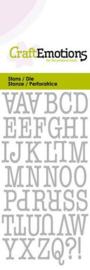 115633/0261 CraftEmotions Die alfabet typewriter hoofdletters Card