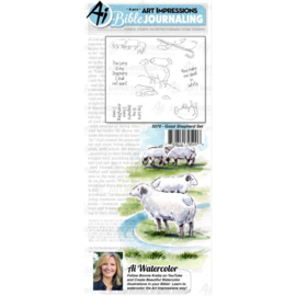 584628 Art Impressions Bible Journaling Watercolor Rubber Stamps Good Shepherd