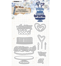 STENCILCNB375 StudioLight Cutting & Emb. Die Cardshape Celebrate new beginnings nr.375