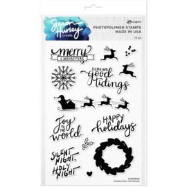 "HUR78968 Simon Hurley create. Clear Stamps Handwritten Christmas 6""X9"""