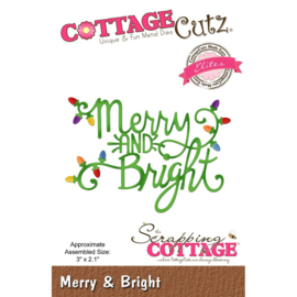 "473757 CottageCutz Elites Die Merry & Bright 3""X2.1"""