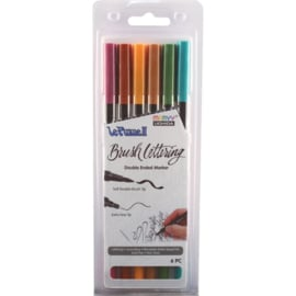 380992 Le Plume II Double-Ended Brush Lettering Marker Natural Set 6/Pkg