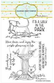 """C3AJ547 Colorado Craft Company Clear Stamps Birdbath Friends-By Anita Jeram 4""""X6"""""""