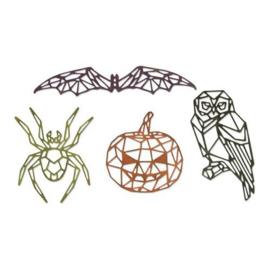 664208 Sizzix Thinlits Die Set 4PK Geo Halloween Tim Holtz