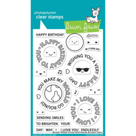 """LF2225 Lawn Fawn Clear Stamps Reveal Wheel Circle Sentiments 4""""X6"""""""