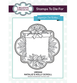 UMS844 To Die For Stamp Natalies's Holly Scroll