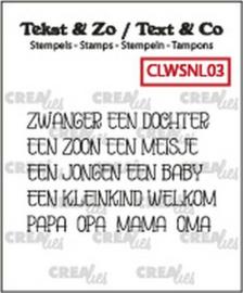 130505/1203 Crealies Clearstamp Tekst&Zo woord strips Baby