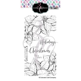 "644271 C3BB393 Colorado Craft Company Clear Stamps Slimline Poinsettias-Big & Bold 4""X8"""