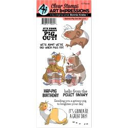 375840 Art Impressions Funny Farm Clear Stamps Guinea Pig Out