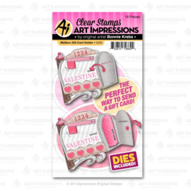 623292 Art Impressions Valentines Clear Stamp & Die Set Mailbox Gift Card Holder