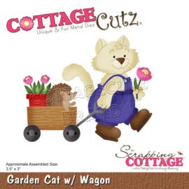 "CC740 CottageCutz Dies Cat W/Wagon 3.5""X3"""