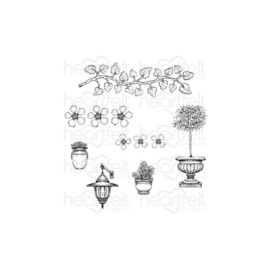 HCPC3909 Heartfelt Creations Cling Rubber Stamp Set French Cottage 'scapes