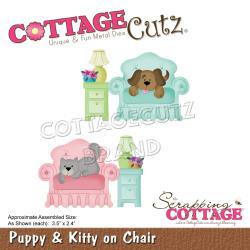 """561340 CottageCutz Dies Puppy & Kitty On Chair 3.5""""X2.4"""""""