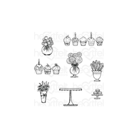 "584600 Heartfelt Creations Cling Rubber Stamp Set Sweet Shoppe Treats .75"" To 3"""