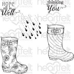"358604 HCPC3811 Heartfelt Creations Cling Rubber Stamp Set Raindrop Sentiments 5""X6.5"""