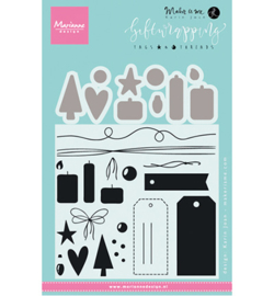 KJ1716 Marianne Design Giftwrapping: Tags & threads