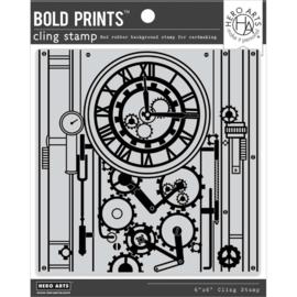 "664542 Hero Arts Cling Stamp Gear Clock Bold Prints 6""X6"""