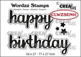 CLWZSEN01 Crealies Clearstamp Wordzz Happy Birthday