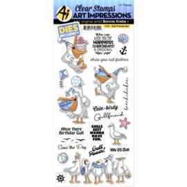 658926 Art Impressions Funny Farm Stamp & Die Set Gull-Friends