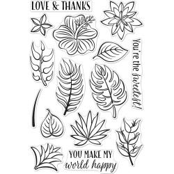 "594811 Hero Arts Clear Stamps Tropical Flowers 4""X6"""