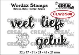 CLWZS08 Crealies Clearstamp Wordzz Veel liefs