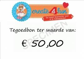 Tegoedbon ter waarde van 50,00 euro
