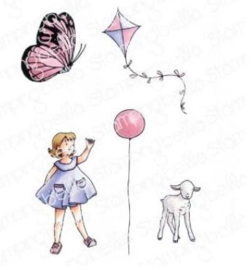 EB927 Stamping Bella Cling Stamps Edgar And Molly's Vintage Balloon Set