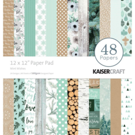 """PP234 Kaisercraft  Paper pad Mint wishes 12x12"""""""
