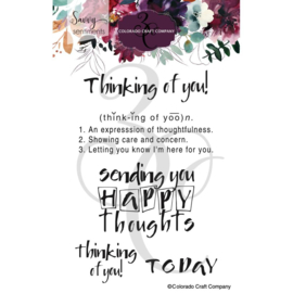 """C3SS517 Colorado Craft Company Clear Stamps Thinking Of You-Savvy Sentiments 4""""X6"""""""