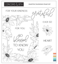 """662346 Concord & 9th Clear Stamps Heartfelt Blossoms 6""""X6"""""""