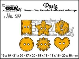 115634/0609 Crealies Partz no. 39 6x knoopjes