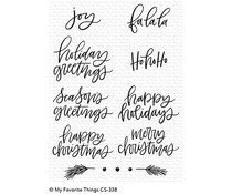 CS-338 My Favorite Things Hand-Lettered Holiday Greetings Clear Stamps