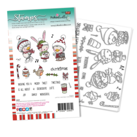PD8094A Polkadoodles Christmas Tweetings Clear Stamps